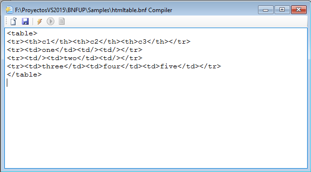 BNFUPEditor integrated compiler