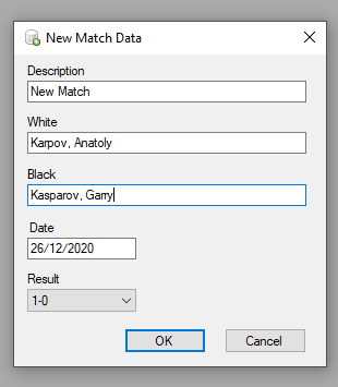 New Match Information dialog box