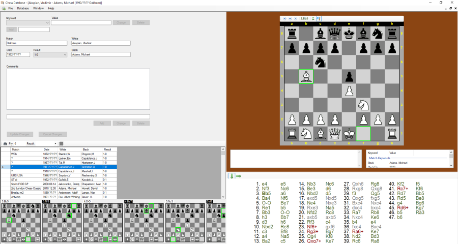 Chess match player window