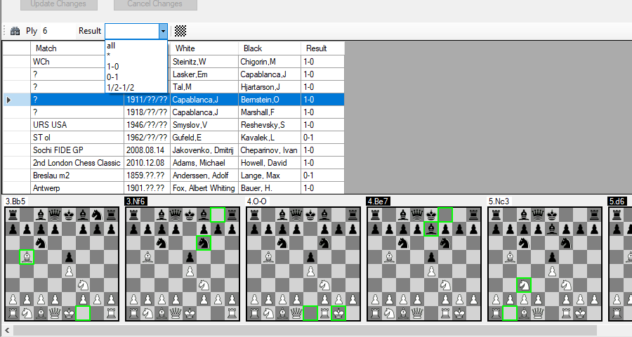 Similar chess matches pane