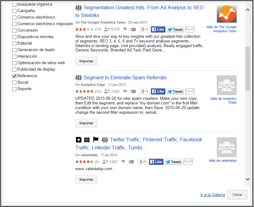 Galeria de Google Analytics