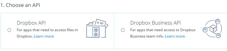 Choose a Dropbox API