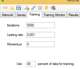 Training parameters tab
