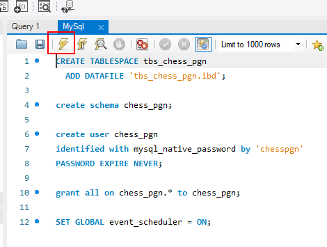 Script para crear la base de datos en MySQL Workbench